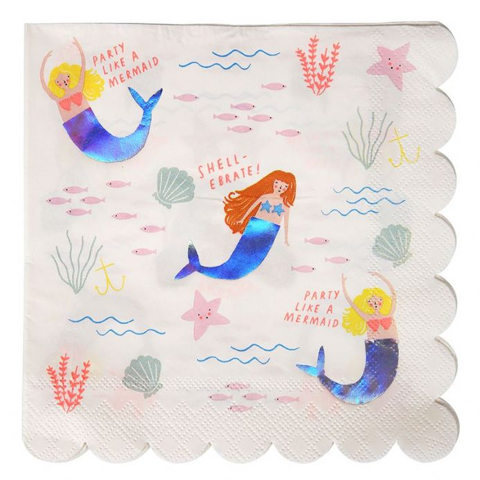 Let's Be Mermaids Paper Party Napkins x 16